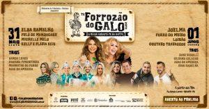 Horários dos shows do FORROZÃO DO GALO